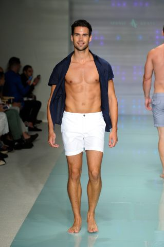 MIAMI BEACH, FL - JULY 14:  A model walks the runway at Argyle Grant Runway Show during Art Hearts Fashion Miami Swim Week Presented by AIDS Healthcare Foundation at Collins Park on July 14, 2016 in Miami Beach, Florida.  (Photo by Arun Nevader/Getty Images for Art Hearts Fashion)
