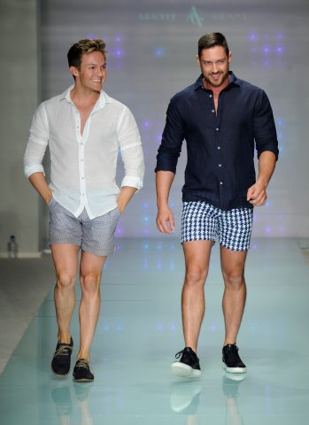 MIAMI BEACH, FL - JULY 14:  Designers Ryan Morgan and Dean McCarthy walk the runway at Argyle Grant Runway Show during Art Hearts Fashion Miami Swim Week Presented by AIDS Healthcare Foundation at Collins Park on July 14, 2016 in Miami Beach, Florida.  (Photo by Arun Nevader/Getty Images for Art Hearts Fashion)